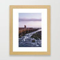 Lynmouth Harbour at dawn twilight. Devon, UK. Framed Art Print