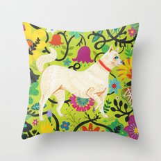 Spring Jindo Dog Throw Pillow