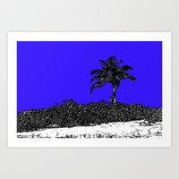 Palm Tree - Blue Art Print