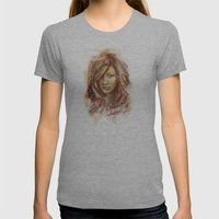 Olivia Wilde Digital Painting Portrait Womens Fitted Tee Athletic Grey SMALL