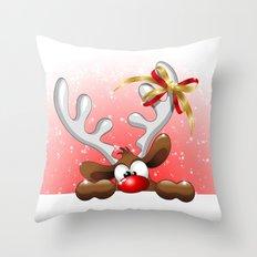 Funny Christmas Reindeer Cartoon Throw Pillow