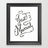 Just Married - hand lettered wedding sign, clligraphy Framed Art Print