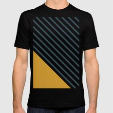 Diagonal Block - Gold/Navy SMALL Black Mens Fitted Tee