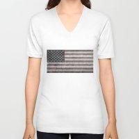 American flag - retro style desaturated look Unisex V-Neck