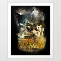 Clash of the Kittens  Art Print