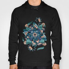 Modern coral blue watercolor floral illustration  Hoody