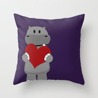 A Hippo with Heart Throw Pillow