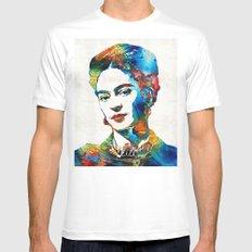 Frida Kahlo Art - Viva La Frida - By Sharon Cummings Mens Fitted Tee White SMALL