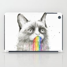 Grumpy Rainbow Cat Watercolor iPad Case