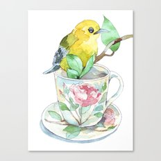 roses tea cup and a yellow bird Canvas Print