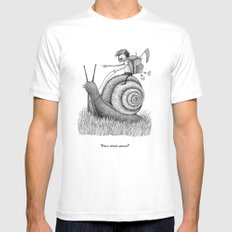 'Full Speed Ahead!' SMALL White Mens Fitted Tee