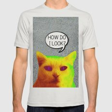 TV Cat Mens Fitted Tee Silver SMALL