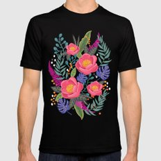 Romantic Blossom, flower print, floral print Mens Fitted Tee Black SMALL