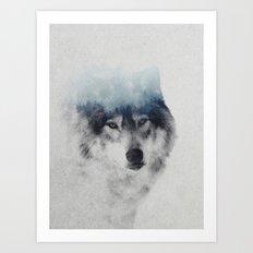 Grey Wolf In Fog Art Print