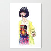 Fashion Illustration . Oriental Girl Canvas Print