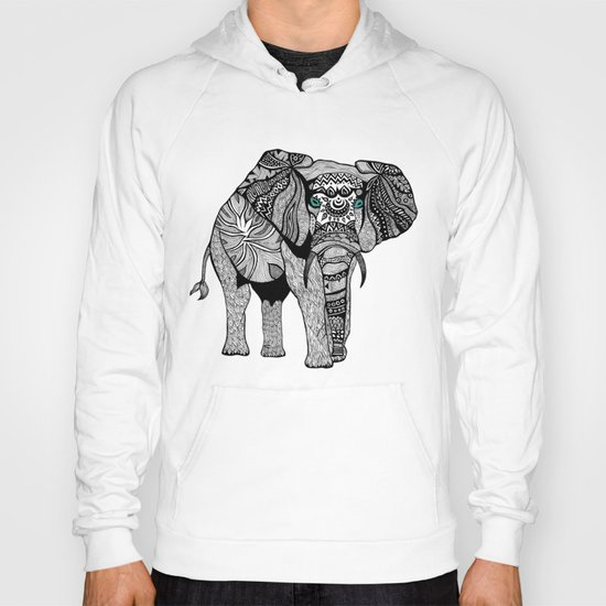 Tribal Elephant Black and White Version Hoody