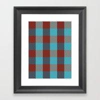 Pixel Plaid - Cranberry Bog Framed Art Print