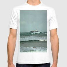 Leistering  Cargo Ship & Surfers Mens Fitted Tee White SMALL