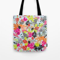 Tote Bag featuring Neon Wilderness  by Suburban Bird Designs
