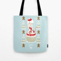 Merry Lady Christmas Cupcake Tote Bag