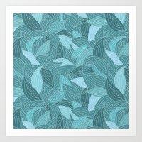 My Dancing Blue Leaves.  Art Print