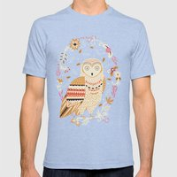 Snowy Owl Mens Fitted Tee Tri-Blue SMALL