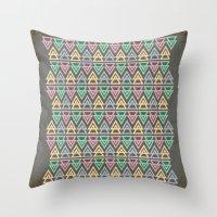 Triangulate 3 / Neon Midnight Throw Pillow