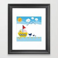 Sailing Cat Framed Art Print