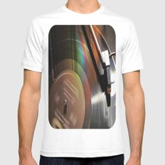 Vinyl Rainbow Mens Fitted Tee SMALL White