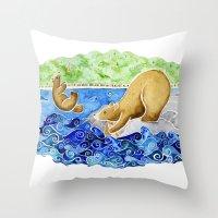 Baby Bear Takes A Tumble Throw Pillow