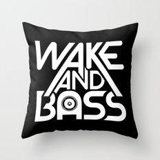 Wake And Bass (White) Throw Pillow