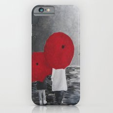 Black White Red mother and child with Umbrella print of painting rainy cloudy surrealism iPhone 6 Slim Case