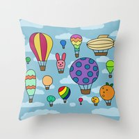 Happy Hot Air Balloons Throw Pillow