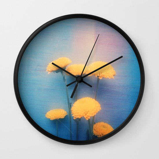 Little Yellow Flowers on a Blue Day Wall Clock