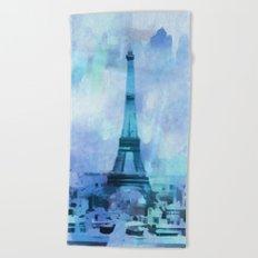Blue Paris Beach Towel