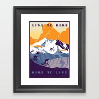 live to ride, ride to live retro cycling poster Framed Art Print