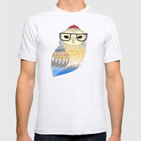 hipster owl Mens Fitted Tee Ash Grey SMALL