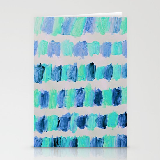 Ocean Brush Strokes -in mint & blue on grey Stationery Card