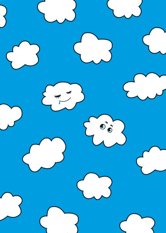Blue Sky Happy Funny Clouds Art Print