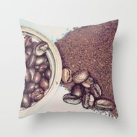 Coffee Beans and Coffee Ground Throw Pillow