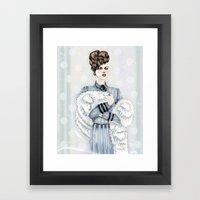 Woman With Fur  Framed Art Print