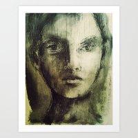 Sgraffito Portrait Print Art Print