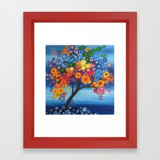 rainbow tree painting tree of life bright red blue yellow green colors colorful colourful Framed Art Print