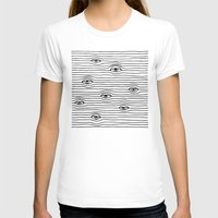 PEEPING TOM [BLK & WHT] Womens Fitted Tee White SMALL