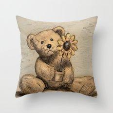 Teddybear With A Sunflow… Throw Pillow