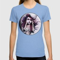 LISTEN TO MUSIC Womens Fitted Tee Tri-Blue SMALL