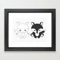 Twins Fox Framed Art Print