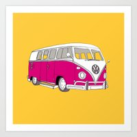 Retro Camper Van // Yellow and Pink Art Print