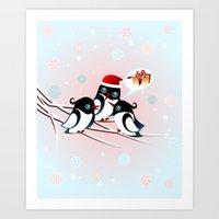 Winter Birds Christmas Wish Art Print