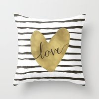 Love Gold Foil Heart Throw Pillow